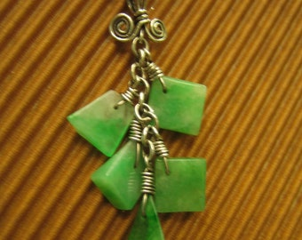 NATURE  ...  925 Sterling Silver Wire / Natural Jade Pendant