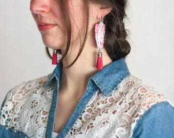 Pink Tulip Earrings, Long Tassels Earring, White Sequin Embroidery, Felt Textile Jewelry, Statement Bold Women, Spring Flower Romantic