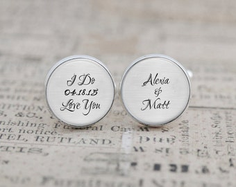 I Do Love You Wedding Cufflinks, Custom with Wedding Date and Names, Gift for the Groom