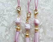 Pink owl purse charm, zipper pull, woodland owl,cute car accessory ,rear view mirror dangle, key chain, clip on charm, clip on jewelry