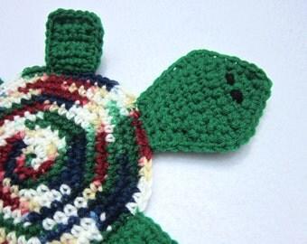 Crochet Pot Holder, Kitchen Hot Pad, Crochet Table Trivet by Charlene, Multicolored Tortoise Pot Holder, Gift for Mom, Present for Sister