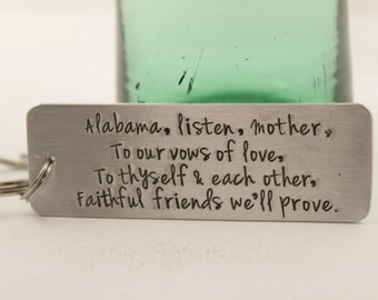 Custom,  Hand Stamped Keychain personalized with YOUR CHOICE of TEXT - love letter keychain