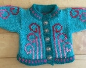 Doll Sweater Green Swirls