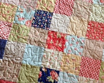 Quilt -- Modern Vintage Lap or Baby Moda Fig Tree quilts fabric--Avalon - red, blue, green, cream