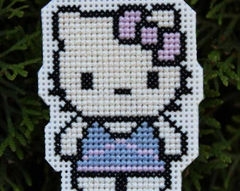 Handmade Hello Kitty Cross Stitch Christmas Ornament