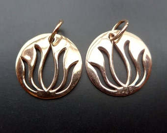 Handmade Rose Gold over 925 Sterling Silver Open Work Lotus Pendant Charm, Yoga Pendant  with 5mm ring - 15mm - 2 pcs - PC-0050