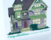 SALE - New Home Congratulations greeting card - Victorian House - 50% off