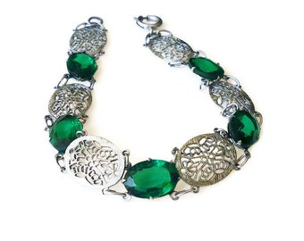 Art Deco Bracelet, Silver Bracelet, Rhodium Plated, Filigree, Emerald Green, Antique Jewelry