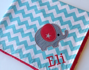 Personalized Baby Blanket- Elephant Baby Blanket- Chevron Baby Blanket- Applique Baby Blanket
