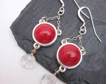 Red Vintage Earrings -- Red & Clear Earrings -- Red Button Earrings -- Unique Red and Silver Earrings -- Red Acrylic Earrings --Dot Earrings