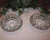 One Pair of Vintage, Firna Indonesia Glass Candlestick Holders