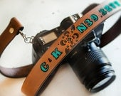Camera Strap - Custom Leather Personalized Latitude and Longitude Coordinates Strap, Compass Rose and Initials - Ornate Hand Painted Version