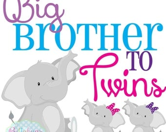 Big Brother to Twins Sisters IRON ON TRANSFER- Tshirt - Bodysuit - Tote Bags