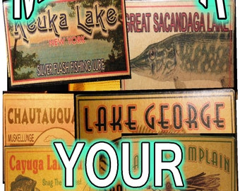 Fishing tackle lake house decor cabin trout michigan minnesota gift lure boxes