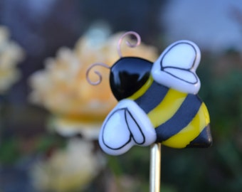 Bumble Bee Plant Stake, Bee Well, Get Well, Fused Glass, Gardner Gift, Beekeeper Gift, Bee Wedding Favor