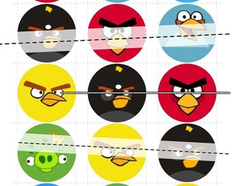 """Angry Birds Instant Downloadable 1"""" Bottle Cap Images"""