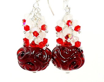 Red & White Earrings, Boro Earrings, Glass Earrings, Lampwork Earrings, Cluster Earrings, Christmas Earrings, Beadwork Earrings