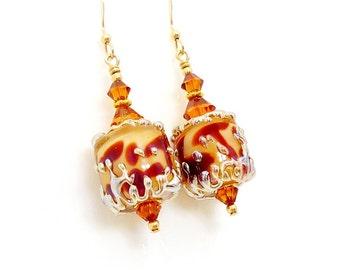 Giraffe Print Earrings, Lampwork Earrings, Glass Earrings, Beadwork Earrings, Animal Print Earrings, Animal Print Jewelry, Unique Earrings