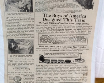 American Flyer electric and mechanical railroads ad circa 1925.