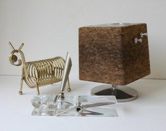 Mid Century Modern Desk Organizer, Accessory, Corkboard, Penstand, Lucite Paper Weight