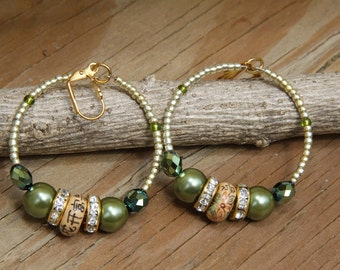 Dangle Hoops,  Vintage Porcelain beads, Olive, tan