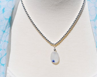Sea Glass Jewelry English Multi Barely There Necklace Blue on White 3784C