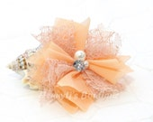 "Elena Chiffon Lace : PEACH / Apricot 2.5"" inch Lace Mesh Flowers rhinestone Pearl Center Puffy Flowers. DIY Hair accessories Supplies"