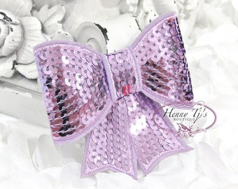 "Set of 2 - XL Sequin Bows - 3"" Metallic LAVENDER Sequin Bow Tie Appliques. Hair Accessories. DIY Supplies. Large Sparkling Bow"