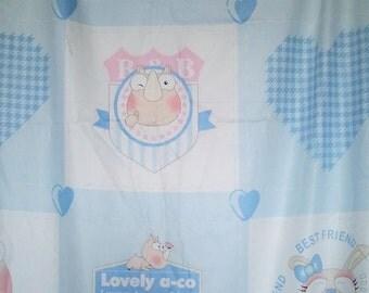 Blue decorator baby quilt square fabric panels