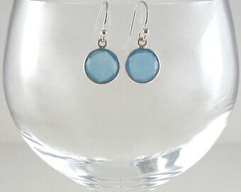 Blue Chalcedony Earrings Gemstone Earrings Cornflower Blue Earrings Light Blue Gemstone Earrings Blue Drop Earrings Blue Gemstone Drops