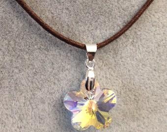 Swarovski AB(Aurora Borealis) Crystal Flower Pendant With Brown Cord/holiday pendant/holiday gift