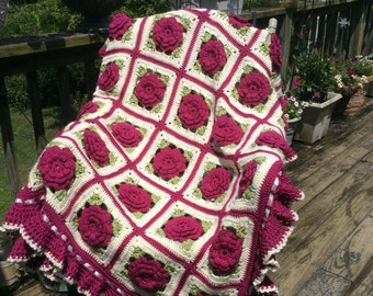 Fuschia Pink Purple Roses and Ruffles Afghan - Crocheted - 48 squares