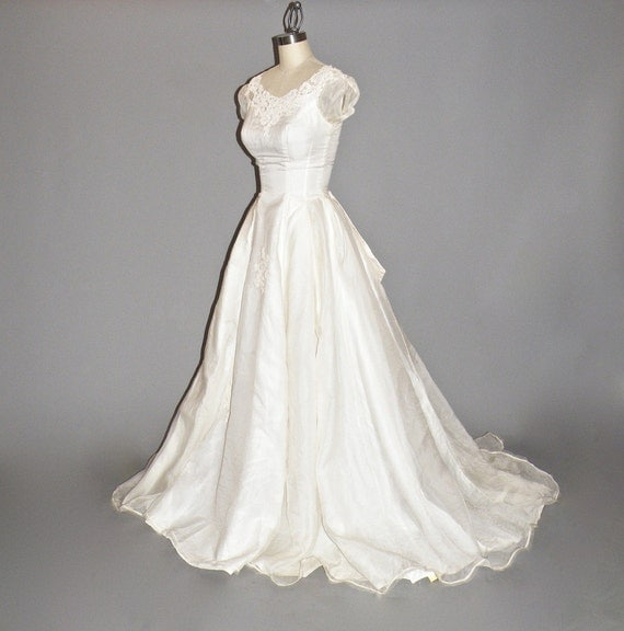 50s wedding dress ivory silk organza 1950s wedding dress with floral