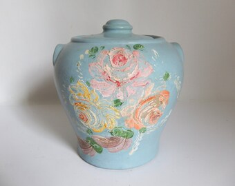 Mid Century 1940's Weathered Light Blue Ceramic Cookie Jar / Canister with Flower Painting