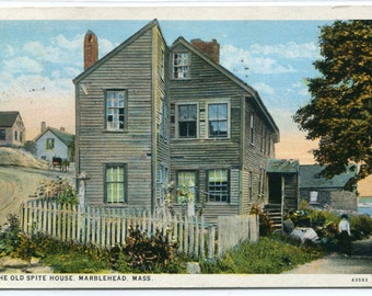 The Old Spite House Marblehead Massachusetts 1920c postcard
