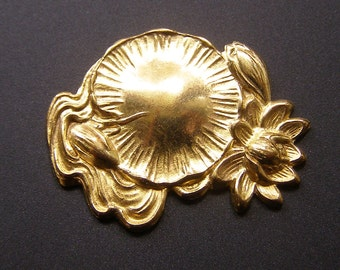 Lotus Flower Lily Pad Brass Stamping Vintage Stamped Brass Jewelry Finding Waterlily