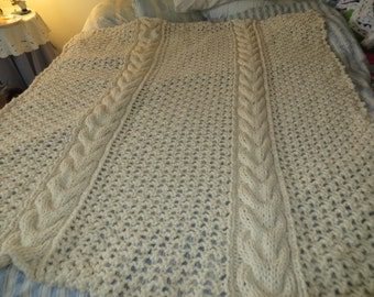 Knit by hand Fisherman Horseshoe Cable Afghan blanket in 20% wool