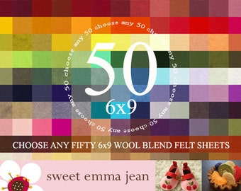 6x9 Felt Sheets - Choose any FIFTY merino wool felt sheets