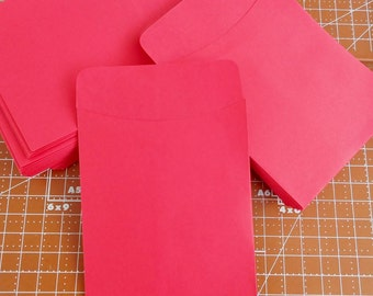 20 Red Library Card Pockets Non-Adhesive