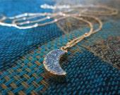 Blue Moon Necklace Gold Filled Druzy Gemstone Necklace Sparkling Blue Moon