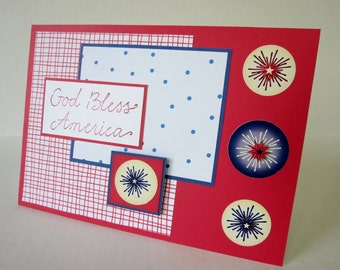 God Bless America 3D Stars Blank Fourth of July Card