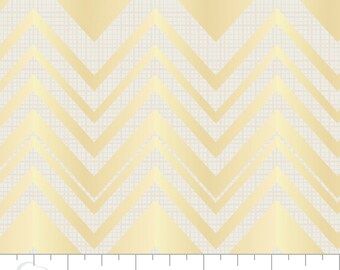 Camelot Fabric's Heavy Metal Chevron (Gold) 1 yard
