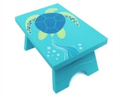 Small Step Stool - Custom Hand Painted Children's Bench Seat Ocean Sea Turtle or Any Kids Theme