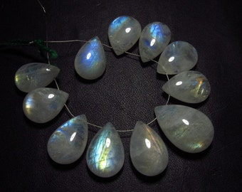 AAA - high grade quality - Amazing Flashy Blue Rainbow fire Rainbow moonstone Smooth pear briolett Huge size - 11.5x17 - 14.5x22 mm 11pcs