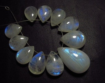 AAA - high grade quality - Amazing Flashy Blue Rainbow fire Rainbow moonstone Smooth pear briolett Huge size - 9.5x13.5 - 14x22 mm 11pcs