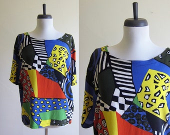 Vintage 1990s Rayon Blouse / WACKY Print Abstract Boxy Top / Size Large