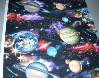In Space - Planets and Solar System -  Cotton Fabric - 15 inches wide and sold by the yard