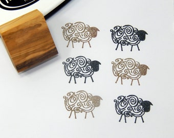 Abstract Sheep Olive Wood Stamp
