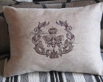 Felt Pillow Cover 12 x 16 - Parisian Bee - JD Designs