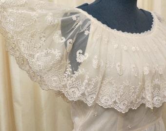 Vintage 60s Lemon Cream Lace Formal Prom Dress Hippie Retro Tea Length Wedding Dress